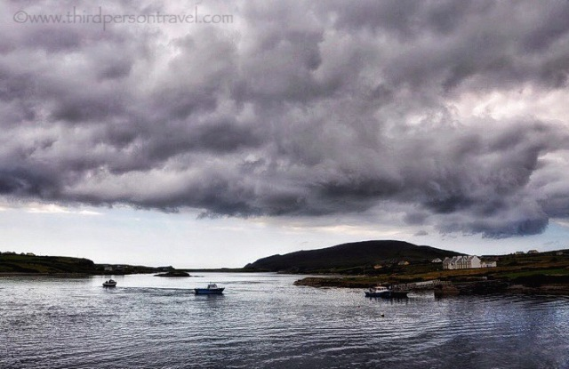 Dense storm clouds approach Portmagee. Co. Kerry, Ireland